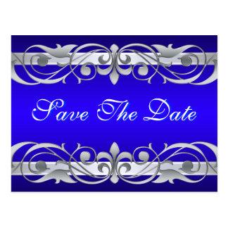 Grand Duchess Silver & Blue Save The Date Postcard