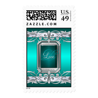 Grand Duchess Silver Love Teal Postage Stamp