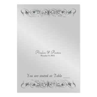 Grand Duchess Silver Metal Scroll Table Placecard Large Business Card
