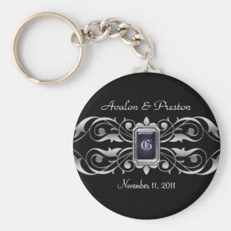 Grand Duchess Silver Monogram Black Keychain