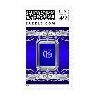 Grand Duchess Silver Monogram Blue Postage