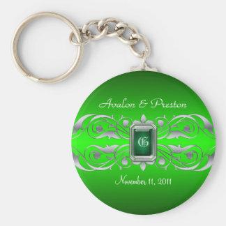 Grand Duchess Silver Monogram Green Keychain