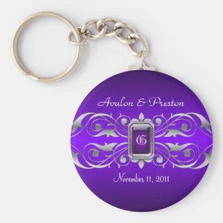 Grand Duchess Silver Monogram Purple Keychain