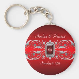 Grand Duchess Silver Monogram Red Keychain