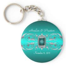 Grand Duchess Silver Monogram Teal Keychain