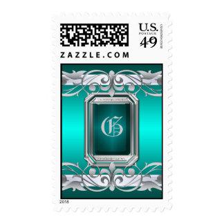 Grand Duchess Silver Monogram Teal Postage