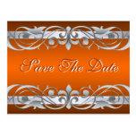 Grand Duchess Silver Orange Save The Date Postcard