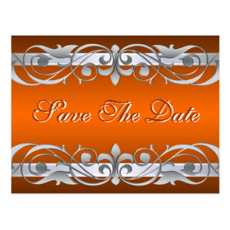 Grand Duchess Silver Orange Save The Date Postcard