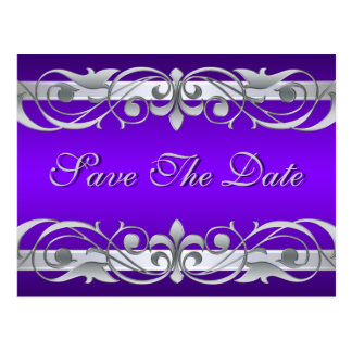 Grand Duchess Silver Purple Save The Date Postcard