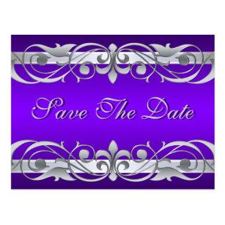 Grand Duchess Silver Purple Save The Date Postcard