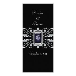 Grand Duchess Silver Scroll Black Wedding Program
