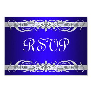 "Grand Duchess Silver Scroll Blue RSVP Card 3.5"" X 5"" Invitation Card"