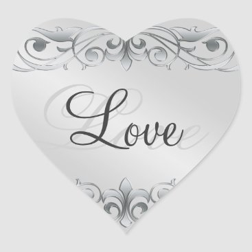 Valentines Themed Grand Duchess Silver Scroll Heart Love Sticker