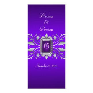 Grand Duchess Silver Scroll Purple Wedding Program