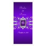 Grand Duchess Silver Scroll Purple Wedding Program Customized Rack Card
