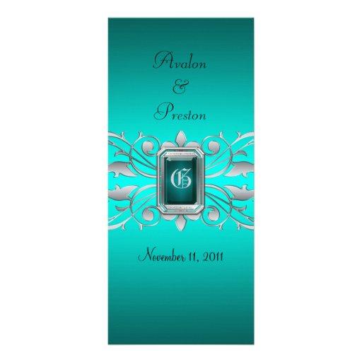 Grand Duchess Silver Scroll Teal Wedding Program Customized Rack Card