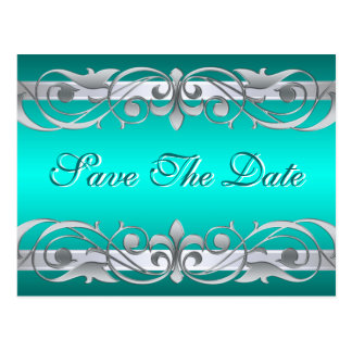 Grand Duchess Silver & Teal Save The Date Postcard