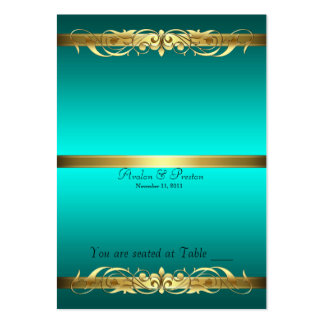Grand Duchess Teal & Gold Scroll Table Placecard Large Business Card
