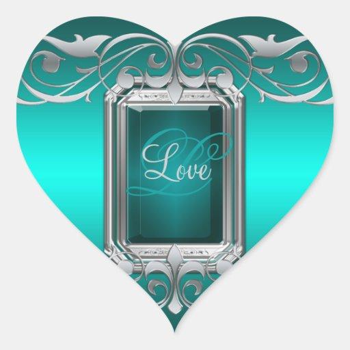 Grand Duchess Teal Heart Silver Love Sticker