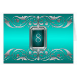 Grand Duchess Teal Jewel Silver Scroll Table Card