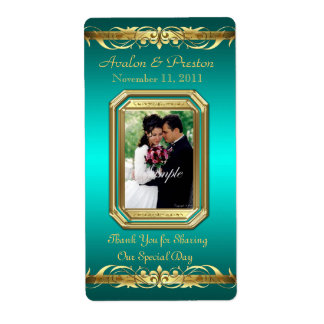 Grand Duchess Teal Photo Gold Wine Wedding Label