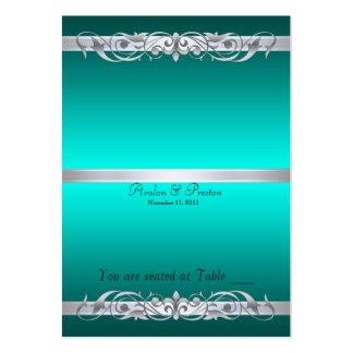 Grand Duchess Teal Scroll Folding Table Placecard Large Business Cards (Pack Of 100)
