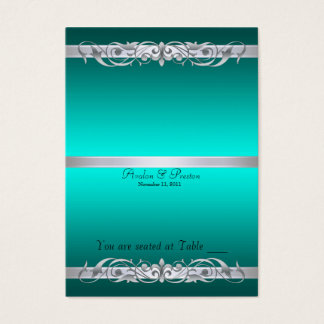 Grand Duchess Teal Scroll Folding Table Placecard Business Card