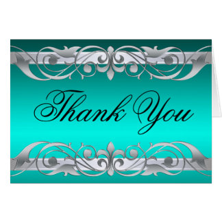 Grand Duchess Teal & Silver Thank You NoteCard