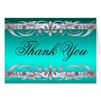 Grand Duchess Teal & Silver Thank You NoteCard Greeting Card