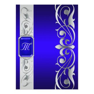 "Grand Duke Blue Jewel Silver And Blue Invitation 5.5"" X 7.5"" Invitation Card"