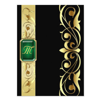 Grand Duke Green Jewel Gold & Black Invitation