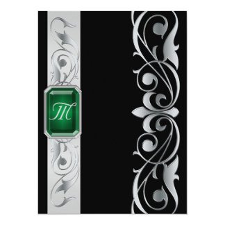 Grand Duke Green Jewel Silver & Black Invitation