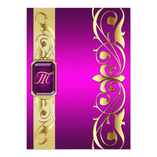 Grand Duke Pink Jewel Gold Scroll Pink Invitation
