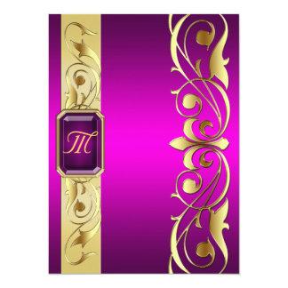 """Grand Duke Pink Jewel Gold Scroll Pink Invitation 5.5"""" X 7.5"""" Invitation Card"""