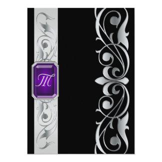 "Grand Duke Purple Jewel Silver & Black Invitation 5.5"" X 7.5"" Invitation Card"