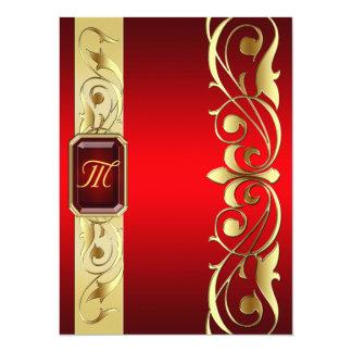 "Grand Duke Red Jewel Gold Scroll Red Invitation 5.5"" X 7.5"" Invitation Card"