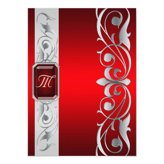 Grand Duke Red Jewel Silver Scroll Red Invitation
