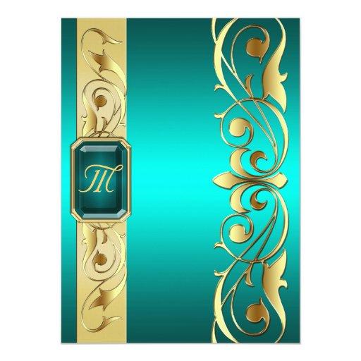 Grand Duke Teal Jewel Gold Scroll Teal Invitation