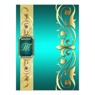 """Grand Duke Teal Jewel Gold Scroll Teal Invitation 5.5"""" X 7.5"""" Invitation Card"""