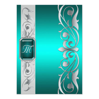 Grand Duke Teal Jewel Silver And Teal Invitation