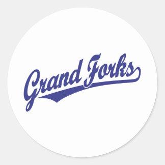 Grand Forks script logo in blue Classic Round Sticker