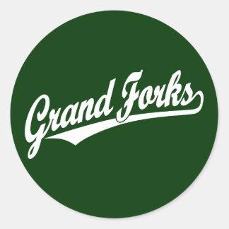 Grand Forks script logo in white Classic Round Sticker