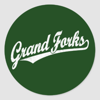 Grand Forks script logo in white distressed Classic Round Sticker
