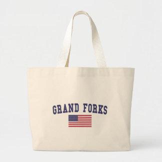 Grand Forks US Flag Large Tote Bag