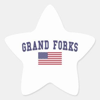 Grand Forks US Flag Star Sticker