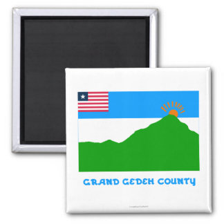 Grand Gedeh County Flag with Name 2 Inch Square Magnet