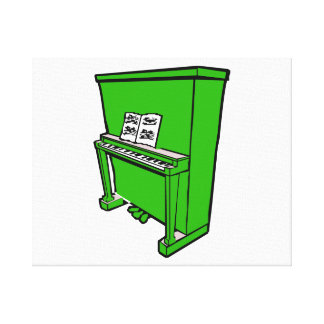 grand green upright piano with music.png canvas print