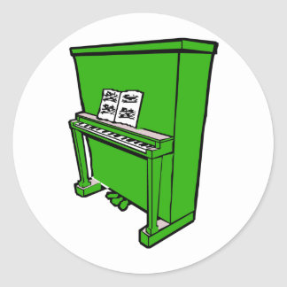 grand green upright piano with music.png classic round sticker