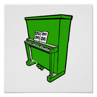 grand green upright piano with music.png poster