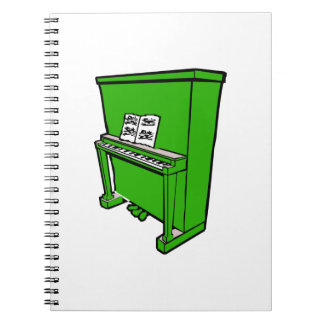 grand green upright piano with music.png spiral notebook